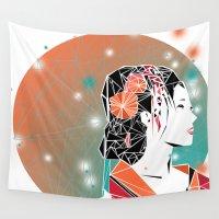 geisha Wall Tapestries featuring GEISHA by ARCHIGRAF