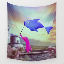 corsa col pesce Wall Tapestry