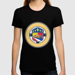 Vintage Cabriolet Fleur-de-Lis Crest Circle Retro T-shirt