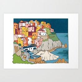 Cinque Terre Italy by Night  Art Print