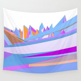 Pastel pink blue orange hand painted geometrical abstract pattern Wall Tapestry