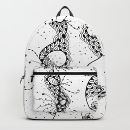 Abstract Doodle Floral Art Backpack