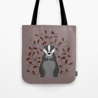 badger Tote Bags featuring Badger by Sophie Mitchell