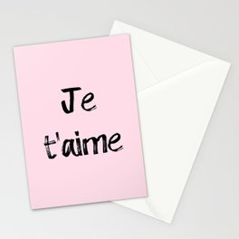 Je t'aime Pink Stationery Cards