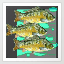 SCHOOL OF GREENISH-YELLOW FISH  IN GREY ART Art Print