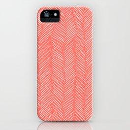 Living Coral Herringbone Happiness iPhone Case