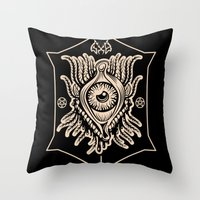 all seeing eye Throw Pillows featuring All Seeing Eye by girlxboy