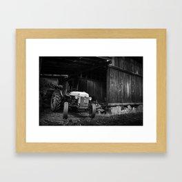 Tractor in barn Framed Art Print