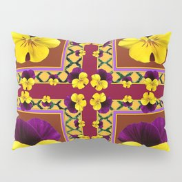 MAROON QUATREFOIL PURPLE & YELLOW SPRING PANSIES Pillow Sham