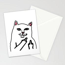 grumpy f**k you cat Stationery Cards