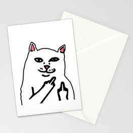 grumpy f**k you cat Stationery Cards