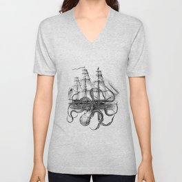 Octopus Kraken attacking Ship Antique Almanac Paper Unisex V-Neck
