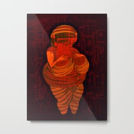 Echoes from the past, Venus of Willendorf, that go to the future, Version by Menchulica Metal Print