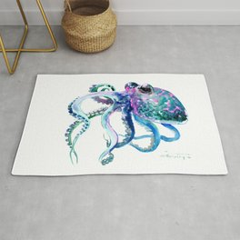 Octopus, Turquoise Green Purple Pink Octopus Design Rug