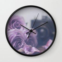 Photogenic Purple Roses Wall Clock