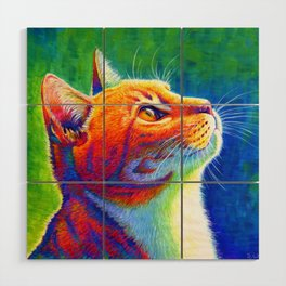 Rainbow Cat Portrait Wood Wall Art
