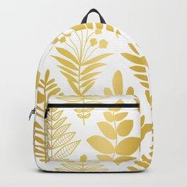Golden Metallic Flower Tribals On White Elegant Faux Gold Foil Pattern Backpack