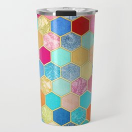 Patterned Honeycomb Patchwork in Jewel Colors Travel Mug