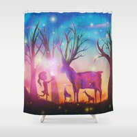 magical girl Shower Curtains featuring Girl meeting magical forest animals by Psychedelic Astronaut