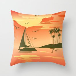 Tropical Sunset over the Sea Throw Pillow