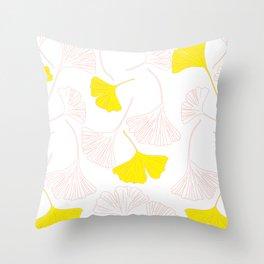 Pink Gingko Leaves, Yellow Gingko Leaves, Gingko Pattern Throw Pillow