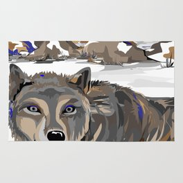 """""""Lone Wolf"""" Paulette Lust's Original, Contemporary, Whimsical, Colorful Art  Rug"""