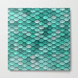 Aqua & Mint Mermaid Glitter Scales - Luxury Mermaid Scales Metal Print