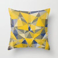 yellow pattern Throw Pillows featuring Yellow by jbjart