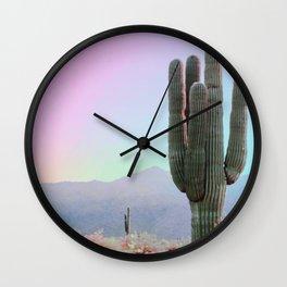 Rainbow Sky With Cactus Wall Clock