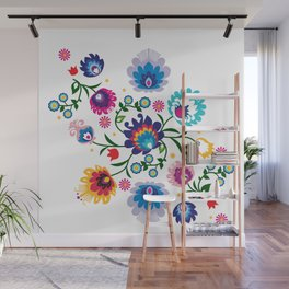 Beautiful Folk Composition on white Wall Mural