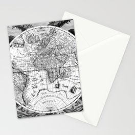 Black and White World Map (1630) Stationery Cards