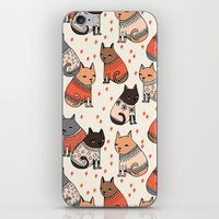 sweater iPhone & iPod Skins featuring Sweater Cats - by Andrea Lauren by Andrea Lauren Design