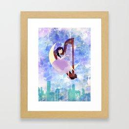 Harp girl 2: Music at night Framed Art Print
