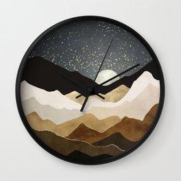 Golden Stars Wall Clock