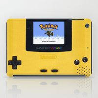 gameboy iPad Cases featuring The Yellow Gameboy by bimorecreative