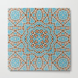Brown blue kaleidoscope . Metal Print