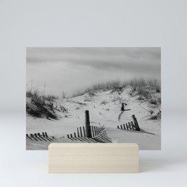 Buried Fences Black and White Coastal Landscape Photo Mini Art Print