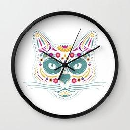 Gato De Los Muertos Wall Clock