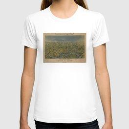 Vintage Bird's Eye Map of Tennessee & Kentucky (1862) T-shirt