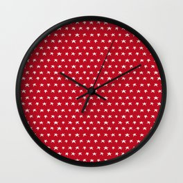 Red with white stars pattern Wall Clock