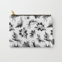 Geometric Dinos // non directional design white background grey dinosaurs shadows Carry-All Pouch