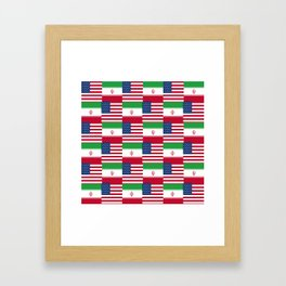 Mix of flag : Usa and Iran. Framed Art Print
