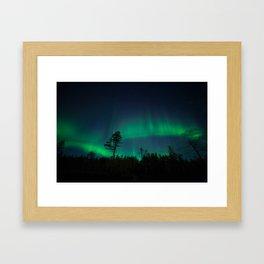 Akaslompolo northern lights Framed Art Print