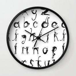Alphabet Cats Wall Clock