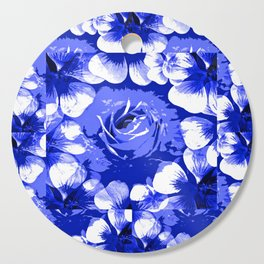 Roses Blue and White Toile #2 Cutting Board