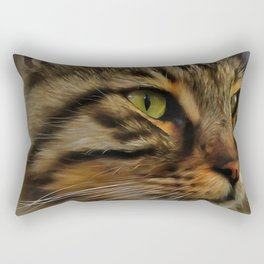 Aslan The Long Haired Tabby Cat Rectangular Pillow