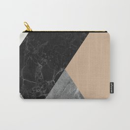 Black and white marbles and pantone hazelnut color Carry-All Pouch
