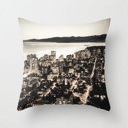 Voyeuristic 1378 Vancouver Cityscape English Bay Twilight Throw Pillow