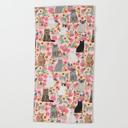 Cat floral mixed breeds of cats gifts for pet lovers cat ladies florals Beach Towel