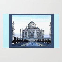 "Taj Mahal Travel Fine Art Watercolor Painting ""Taj Mahal In Blue"" Rug"